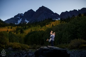 CO couple during their lit engagement session in the mountains near Aspen