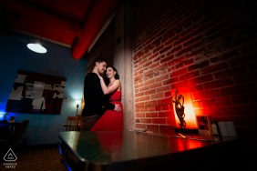 Blue Plate Restaurant, Edmonton, AB, Canada engagement portrait | It's you and me and this red light.