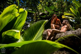 Spain prewedding, engagement photography - A couple inside a tropical jungle