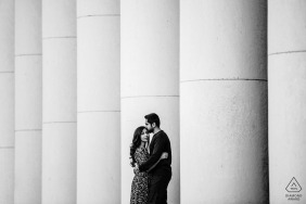 Sofia, Bulgaria engagement photoshoot - Black and white portrait of the couple with concrete pillars