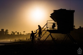 Santa Cruz Beach Lifeguard Tower Pre-Wedding Photo Session | Sunset at Santa Cruz