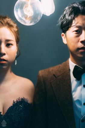 Taiwan Pre Wedding portrait session in the Studio with vintage lights