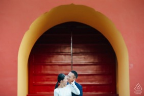 Beijing China Red Engagement Portrait under the Golden Mc Arch