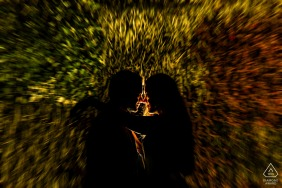 Mumbai slow-shutter engagement portrait at night | Back Light and Lens Zoom!