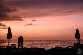 Negril, Jamaica Couples' Sunset Silhouette portrait session at sea with children fishing