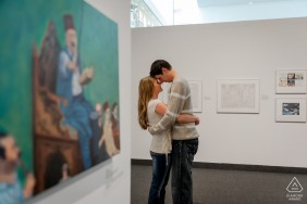 London Art Gallery | Engagement Portrait of Couple with Art in Gallery