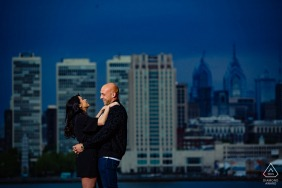 Camden Waterfront engagement portrait Session - Photographer: Saw the shot, made them laugh.