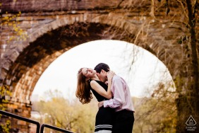 Boathouse Row engagement photographer: I saw the bridge, used a long lens and made it sexy.