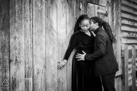 Portraits at a barn in Toronto - Photographer: Engaged couple had fantastic chemistry with each other - I love this moment when the couple were trying to get cosy and her expressions reflected that love.
