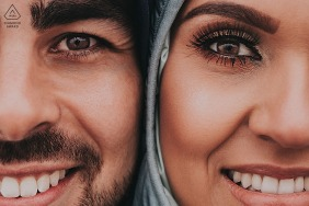 Belo Horizonte, Brazil Engagment Portrait | The image depicts two halves of each face, the bride and groom together. (sorry about the badge placement)