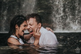 Serra do Cipó, Minas Gerais, Brazil Couple at Cachoeira | Cold Water Engagement Session at the Falls.