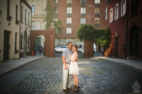 NYU campus, New York City engagement photographer: Finding the perfect light