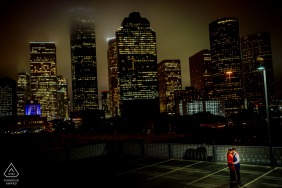 Houston, TX, USA - Couple having a good time with the background of Houston cityscape