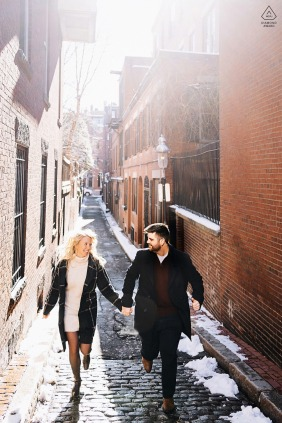 Beacon Hill, Boston Engagement Marathon - Running Lovers Portrait