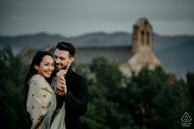 Angoustrine, French Pyrénées Pre-wedding portrait session on the top of the hill