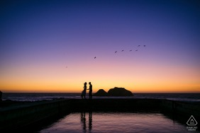 Sutro Bath Violet Hearts - CA Engagement Shoot at Sunset with Birds Overhead