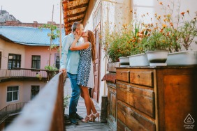 Lviv, Ukraine Engagement Photography - A portrait of the couple on a floral balcony
