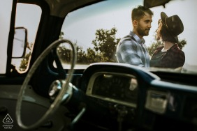 Mersin/Turkey Engagement Pre Wedding Shoot - A portrait of the couple through car window
