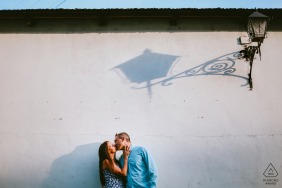 Lviv, Ukraine Couple kissing under a street light shadow - Engagement portrait session