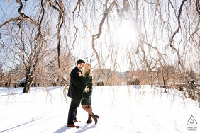 Boston Public Garden engagement session during the winter.