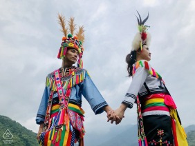Prewedding shoot in Hualien, Taiwan of a couple in traditional clothing.