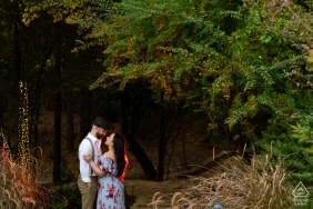 Houston Couple Posing in the forest for their engagement Portrait
