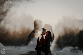 Double Exposure engagement portrait of Couple During Golden Hour in Canada.