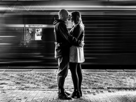 Castlefield Manchester England Engagement Photographer: Motion, whilst theres movement all around us we stand still and embrace each other