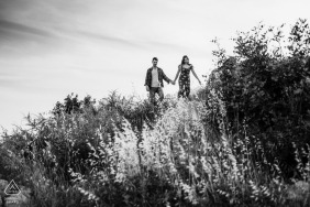 Turkey couple on the garden in the backlight - black and white engagement picture