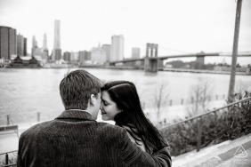 Couple Engagement Photo Session | Brooklyn Bridge Park, New York City - A view of the bridge.