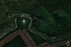 Engagement Photography Session from Burg Lichtenberg - A drone shot engagement shooting at a castle
