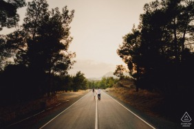 Engagement Photography Session in Cyprus - A man and woman walking in road