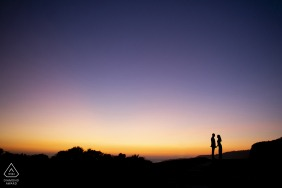 Palos Verdes Beach Sunset silhouette engagement photo