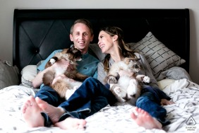 Engagement Picture Session from chicago il - couple at home on bed with cats