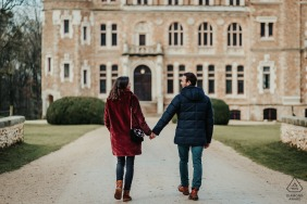 Engagement Picture Session at Château de Méridon, France - Visit of the venue 7 month before the wedding. We improvised a quick photoshoot.