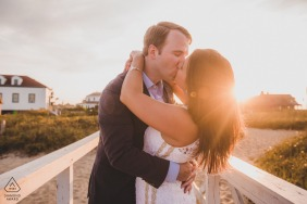 Engagement Photo Session at Brant Point Lighthouse, Nantucket Island, MA - Couple at sunset during their engagement session.