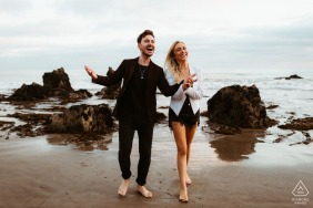 Couple Engagement Photos | Leo Carrillo State Beach - So much positive energy from this happy couple