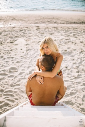 Engagement Picture Session from Chalkidiki, Greece - A couple hugging by the sea