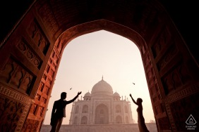 Engagement Photo from Taj Mahal, India in the early morning