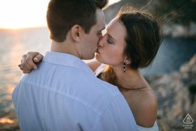 Engagement shooting for an American couple in Portovenere in Italy.