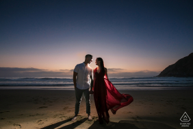 Half Moon Bay, California Red Hour engagement shoot session