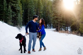Breckenridge, CO winter engagement with the couple and their dog