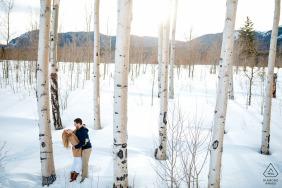 科羅拉多州西爾弗索恩冬季白楊訂婚會議