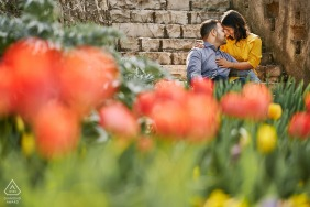 In the Castel of Brescia, Italy couple portraits - love blossoms like spring