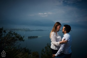 Garda Lake, Italy engagement portrait with bad weather in the background