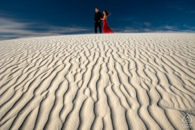 White Sands National Park - Bride and groom on sand dunes