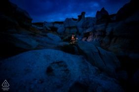 Colorado Paint Mines - Bride and groom blue hour portrait
