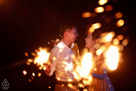 bromo, surabaya, indonesia pre-wedding portraits - playing fireworks