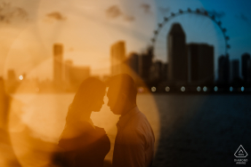 "Singapore prewedding photographre: ""It was a pretty looking sunset over the city line and we found a quiet spot to do just that."""