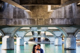 California pre-wedding engagement shoot in Foster City - Love under the bridge